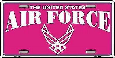 "Air Force Pink Novelty 6"" x 12"" Metal License Plate Sign"