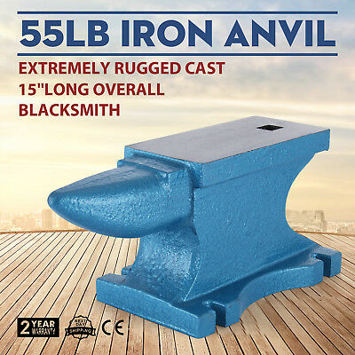 55LB Iron Anvil Extremely Rugged Cast Blacksmith Silversmith Steel Round Horn