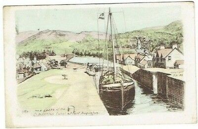 Tucks Postcard Caledonian Canal Fort Augustus Inverness-Shire Scotland Used 1945