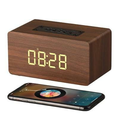 2 In 1 Alarm Clock Wooden Bluetooth Speaker LED Display TF Card Support Portable
