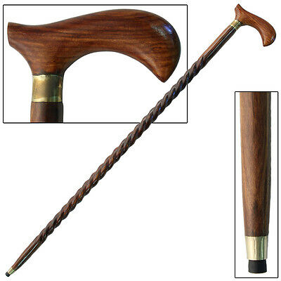 Spiral Sheesham Wood Derby Gentleman's Waling Cane Stick