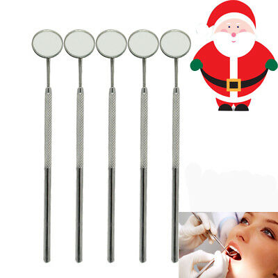 5 Pcs Dental Stainless Steel Mouth Mirror 4# Reflector Handle Instrument Dentist