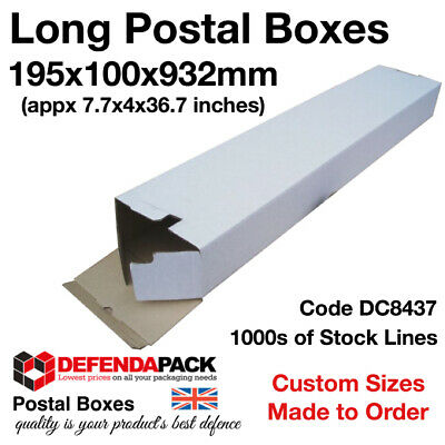 500 x Long White Die Cut Cardboard Postal Boxes 195mm x 100mm x 932mm  DC8347