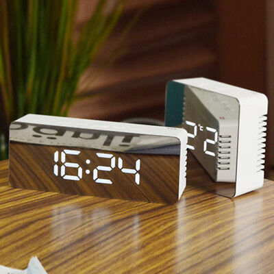 Creative LED Digital Alarm Clock Night Light Thermometer Display Mirror Lamp CHZ