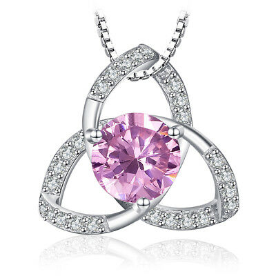 JewelryPalace Trinity Knot 3 Petal Pink Sapphire Pendant 925 Sterling Silver