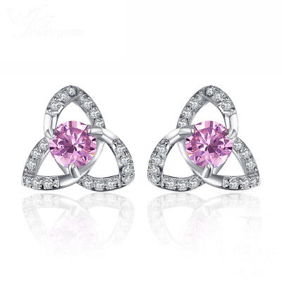 JewelryPalace Trinity Knot Petal Pink Sapphire Stud Earrings 925 Sterling Silver