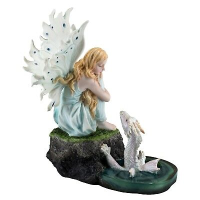 "Fairy Sitting On Rock With Baby Sea Dragon Figurine Statue 7"" High New In Box"