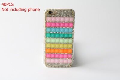 40pcs Bling Rainbow Rhinestone Crystal Diamond Phone Case Cover For iPhones 6 6s