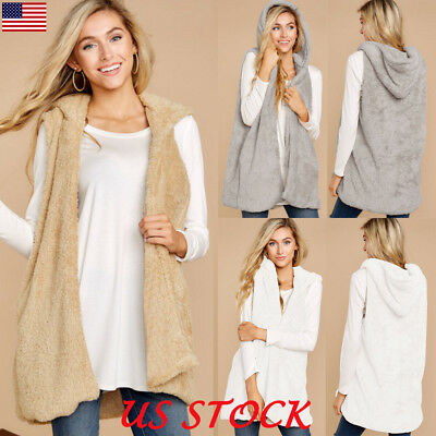 Women's Vest Outwear Hooded Fuzzy Cardigan Sleeveless Sweater Jacket Coat Top US