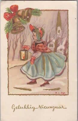 x children early old antique postcard greetings