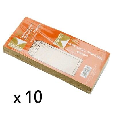 Regency 229x102mm Strip & Seal Heavy Manilla Envelopes - 10 Packs