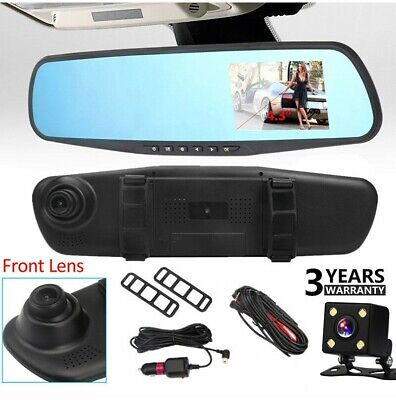 Car DVR 4.3'' HD 1080P Dual Lens Auto Mirror Dash Cam Recorder Rearview Camera C