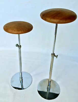 Pair Antique Vintage Art Deco French Adjustable Hat Stands 1930s 1940s