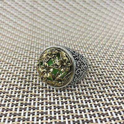 Chinese Old Handwork Tibet Silver Peach Blossom flower Collectible Antique Ring