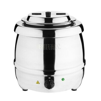 Buffalo Stainless Steel Soup Kettle 10 litre ltr Hinged Lid L714 Catering Silver
