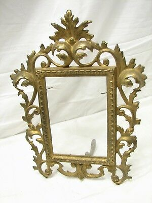 Early Cast Iron Brass Tone Art Nouveau Ornate Stand Up Picture Frame Photo