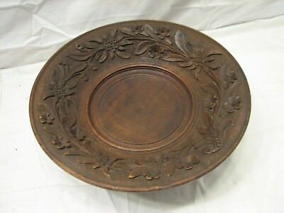German Black Forest Hand Carved & Turned Wooden Music Box Serving Bowl Dish