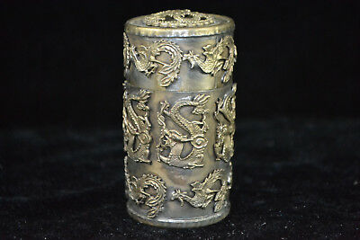 Chinese Old Tibet Silver Handwork Dragon Phoenix Collectible jewel Tobacco Box