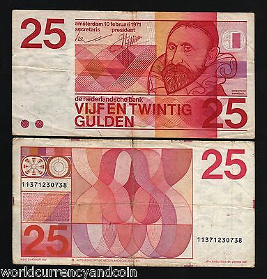 NETHERLANDS BANKNOTE 25 GULDEN 1971 REPLICA GOLD 24K