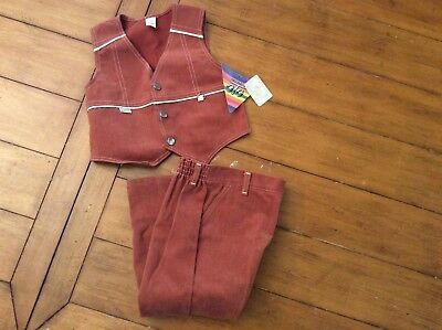 NEW Vintage Boys Brown western country hippie Vest Pant Suit Set sz 4 Halloween