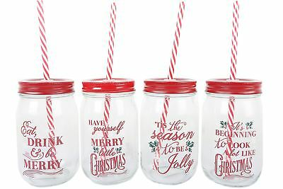 Clear Glass Mason Christmas Drinking Jar With Lid And Straw - Designs Vary