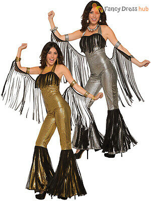 Ladies 80s Disco Queen  Costume Adults Silver Gold 70s Diva Fancy Dress Womens