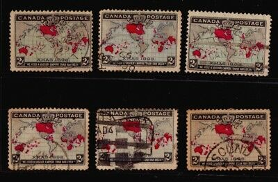 Canada Imperial Penny x6 used stamps fancy cancel SON etc nice group