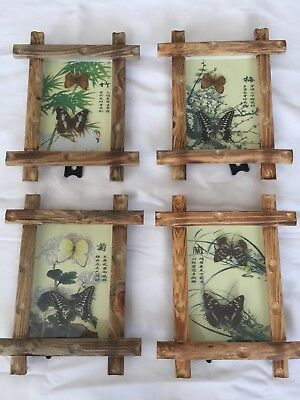 4 Real Butterflies Framed Picture With Chinese Script
