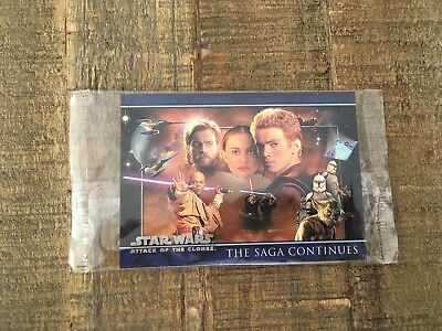2002 Topps Star Wars Attack Of The Clones 3 Card Promo Set P1 P2 P3 SEALED!!