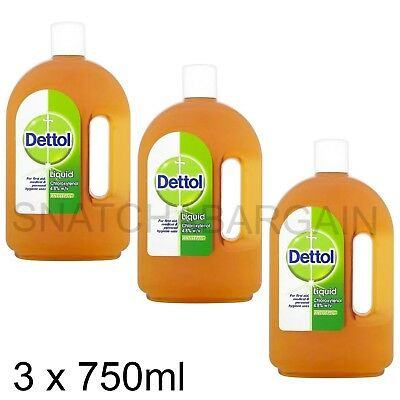 3 x DETTOL ANTISEPTIC LIQUID 750ml BOTTLE