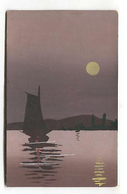 Old hand-painted postcard - boat, water