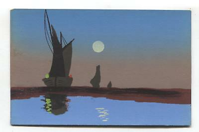 Old hand-painted postcard - boats, water, moonlight