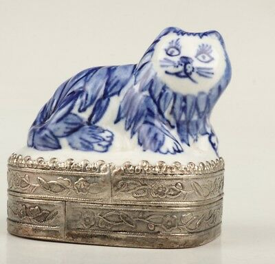 Porcelain Tibet Silver Jewelry Box Seal Box Handmade Cat Statue Collection