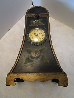 "WOOD WINE BOTTLE HOLDER & CLOCK CARRIER STORAGE 17"" tall Hand painted floral"