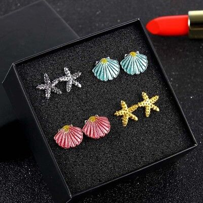 4 Pairs/set Boho Ear Stud Earrings Colorful Sea Shell Starfish Beach Jewelry Hot