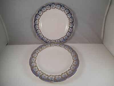 Vintage Unmarked Pair of Blue Gold Flower Bread Plates Plate 35