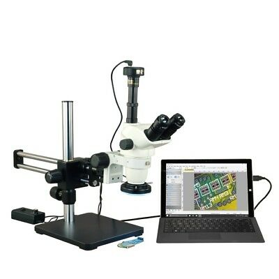 6.7-45X Zoom Stereo Microscope+Metal Shell144LED Ring Light+Boom Stand+3M Camera