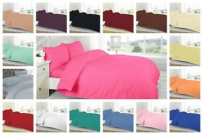 Plain Dyed Duvet Quilt Cover Set With Pillow Case Single-Double-King-Super King