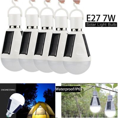 E27 Solar Panel Powered LED Bulb Light Portable Outdoor Camping Tent Lamp 7W