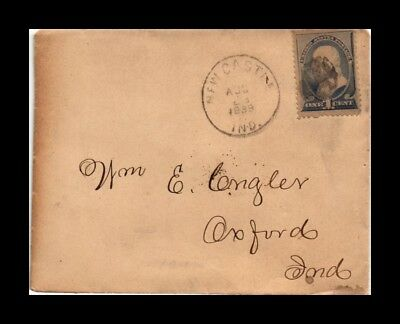 Dr Jim Stamps Us Cover New Castle Indiana 1889 Backstamp Oxford Indiana