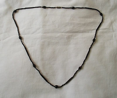 """Beautiful Art Deco Necklace with French Jet Black Glass Beads 33.5"""" long"""