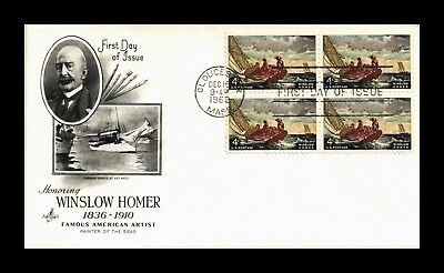 Dr Jim Stamps Us Cover Winslow Homer Artist Block Of 4 Fdc Scott 1207