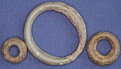 3 Iron Age Danubian Celtic Proto ring coins, 1st to 5th C BC 9-22mm *[14353]