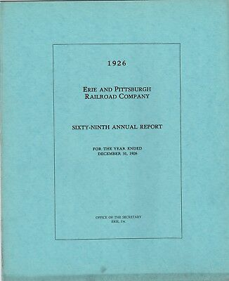 1926 Erie and Pittsburgh Railroad Company 69th Annual report FREE SHIPPING
