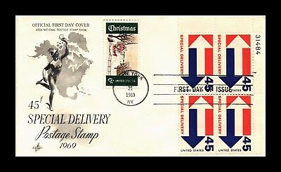 Dr Jim Stamps Us Cover Special Delivery 45C Fdc Plate Block Scott E22