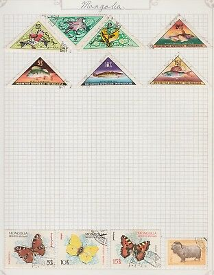 MONGOLIA COLLECTION Butterflies, Fish Birds, etc as per scan, USED #