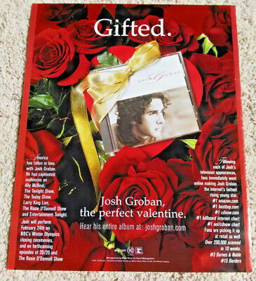 "Josh Groban, The Perfect Valentine 11"" x 13"" Full Page Magazine Advertisement Ad"
