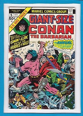 """GIANT-SIZE CONAN #5_1975_VG_""""CONAN & ELRIC Vs THE HORDES OF HELL""""_BRONZE AGE!"""