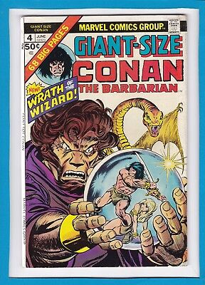"""Giant-Size Conan #4_June 1975_Very Good_""""wrath Of The Wizard""""_Bronze Age Marvel!"""
