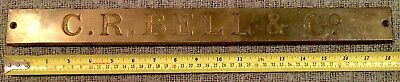 Rare Find Original Antique Brass Plaque C R Bell & Co Straight Edge C1900